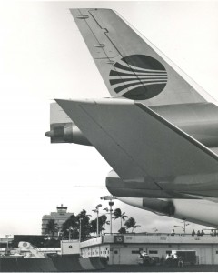 Tail end of an aircraft taken in 1972