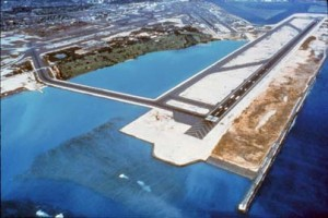 An aerial view of the Reef Runway taken in the 1990s