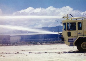 Photo of a firetruck in action in 1994