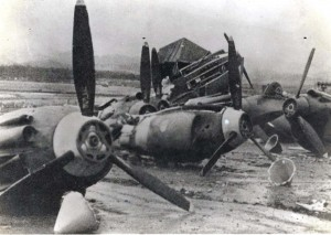 Damaged air crafts in Pearl Harbor taken in 1941