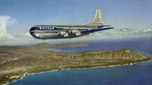 United Airlines flies past Diamond Head
