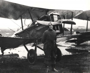 Maj Horace M. Hickam at Bolling Field air tournament with an SE-5 in background, 1920.