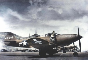 P-390 of 333rd Fighter Squadron, 318 Fighter Group, on flight line at Bellows Field, 1943.