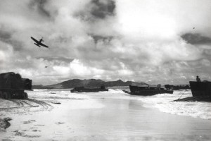 Beach assault training at Bellows Field with P-39 aircraft, c1944-1945.
