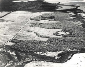 Aerial view of Hickam Field before construction, May 28, 1936. Originally known as Tracks A&B this property was acquired on April 3, 1935 at a cost of $1,095,54.78 from the Bishop, Damon & Queen Emma Estates. The area was 2,225.46 acres.