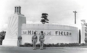 One of the concrete portals flanking Hickam Field's main gate, February 21, 1938. This is believed to be a replica of portals at Kitty Hawk where the Wright Brouthers made their historic flight.
