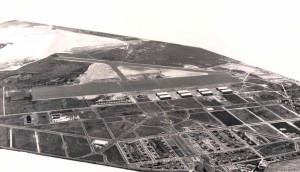 Progress of construction at Hickam Field as viewed from Pearl Harbor, January 25, 1939.