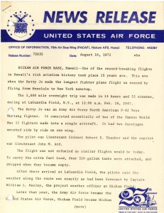 Hickam AFB Press Release dated August 16, 1972
