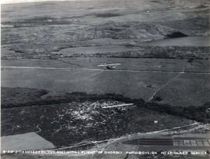 Initial flight of Inter-Island Airways Sikorsky amphibian in interisland service, November 11, 1929.