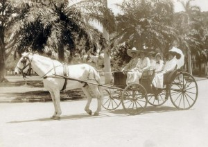 Sunday buggy ride, Honolulu, 1900s.