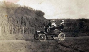 Early automobile in Honolulu, 1920s.