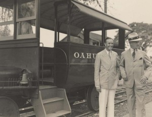 W. Averell Harrison, chairman of board, Union Pacific Railway, & Walter Dillingham, president of Oahu Railway of Hawaii, most westerly railroad in nation.