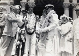 Commander John Rodgers and his crew were welcomed at Iolani Palace by Governor W. R. Farrington on September 17, 1925. Rodgers died while making a trip to the Naval Aircraft Factory to inspect two PN-10 model seaplanes. He had hoped to fly one of these planes to Hawaii when they were completed.