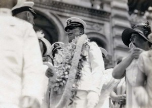 Commander John Rodgers and his crew received a heroes welcome at Iolani Palace on September 17, 1925. Later that day they bid aloha to the islands and sailed to San Francisco on the USS Idaho.