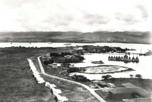 Tent hangars at Luke Field, c1925. The Navy facilities are at right.