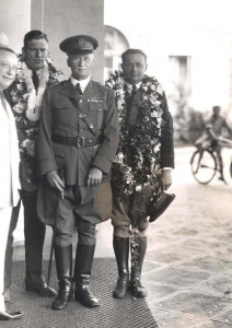 Army Lts. Maitland and Hegenberger, June 29, 1927. Arthur Benaglia, left, manager of the Royal Hawaiian Hotel, with Maitland and Hegenberger and the commanding general of the Hawaiian Department, after the first successful flight from San Francisco to Honolulu.