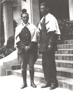 Army Pilot Lt. Lester F. Maitland & Lt Albert F. Hegenberger completed the first flight to Hawaii on June 29, 1927. The 26 hour flight from Oakland to Wheeler Field, Oahu was in an Army tri-motor Fokker monoplane. They wear the feather capes of royalty on the steps of the Royal Hawaiian Hotel.