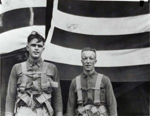 The first military man to parachute from a balloon in Hawaii was Army Lt. Ben Cassiday (left). He is pictured with Capt. R. Hoyt. A member of 3rd Balloon Company, Lt. Cassiday parachuted from the balloon during military review on October 22, 1921. He retired as a Colonel in Hawaii.