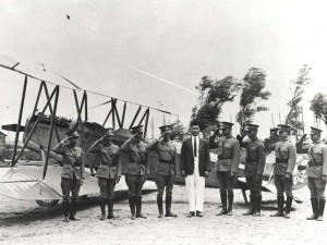 Sun Yet Young was the first Hawaii resident to earn a pilot's license. Here he stands in 1923 with Chinese flyers and the first airplane manufactured in China. The Honolulu born son of wealthy Chinese, Young soloed at the Curtiss Flying School in Buffalo, New York on October 2, 1916. He later worked for Dr. Sun Yat-Sen.