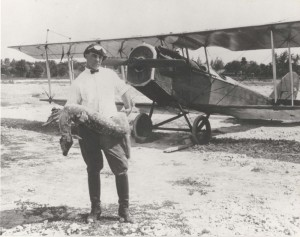 Aviator Charles Stoffer is pictured after landing on Molokai. An Army flying instructor in World War I, he arrived in Hawaii in December 1920 and started the first civilian flying school, laying the foundation for civil flying in Hawaii.