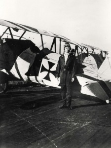 Lt. Cook in front of his plane at Schofield, 1920s.