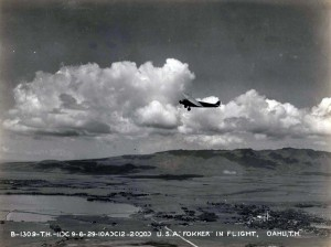 U.S. Army Fokker in flight over Oahu 1929.