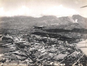U.S. Army Air Corps Fokker in flight over Honolulu December 1928