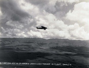 U.S. Army Air Corps Fokker over Oahu 1929