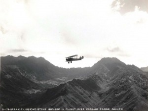 U.S. Army Air Corps Keystone Bomber over Koolau mountains, Oahu 1929.