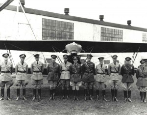 The 18th Pursuit Group at Wheeler Field, 1929. Lts James Walsh, Jack Kirkendall, Ray Culberson, 19th Pursuit Sq; Capt Strickland, 19th PS Comdr; Capt Vern; Maj. Carl Wash, Grp Comm; Lt. Rex Stoner, Group Adjustant; Lt Clarence Crumrine, 6th Pursuit Sq; Lt. Hoyt.