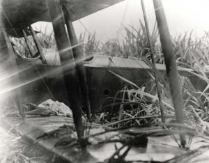 Crash of Lt. Brooks in a JN-6H aircraft at Wheeler Field, 1922.