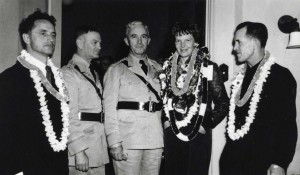 Amelia Earhart is honored at a farewell party at the Wheeler Field Officer's Club, March 19, 1937.