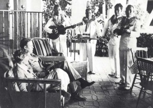Amelia Earhart and husband George Putnam were serenaded by Royal Hawaiian Hotel musicians, January 2, 1935.