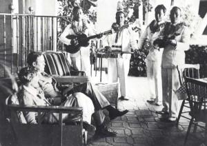Amelia Earhart and husband George Putnam were serenaded by Royal Hawaiian Hotel musicians, January 2, 1935.