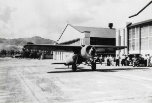 Amelia Earhart's Lockheed Vega at Wheeler Field, Oahu, January 8, 1935.