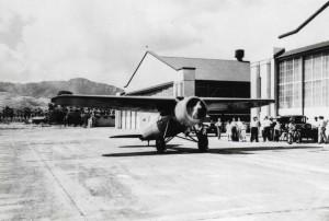 Amelia Earhart's Lockheed Vega at Wheeler Field, Oahu, January 8, 1935.