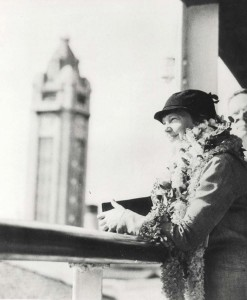 Amelia Earhart arrived in Honolulu on the Lurline, sailing past Aloha Tower on December 27, 1934.