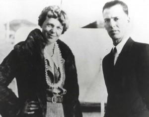 Amelia Earhart and her mechanic Ernie Tissot, 1935 at Wheeler Field, Oahu.