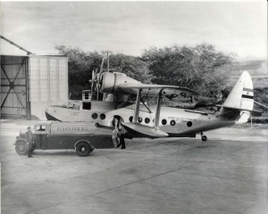 Inter-Island Sikorsky being fueled by a Standard Oil truck at John Rodgers Airport, 1937.