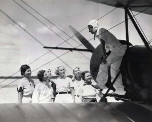 Pilot Andrews, Evelyn Hudson, assistant instructor; Winifred Hudson, Helen Smith, Virginia Thomas, Madeline Hayden, Emma Chung, Clora Curtis. 1935.