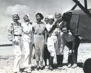 Pilot Andrews, Evelyn Hudson, assistant instructor; Winifred Hudson, Helen Smith, Virginia Thomas, Madeline Hayden, Emma Chung, Clora Curtis.