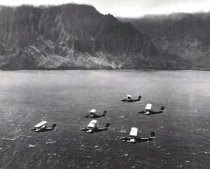U.S. Navy Bombing planes pass the coastline of Molokai.