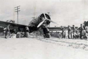 Plane crash at Haleiwa, July 19, 1938