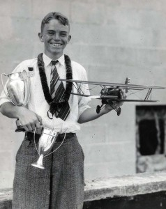 Ray Shepherd won the model airplane championship at Honolulu. Today he is a junior engineer with Boeing. Ray's scale model plane won first place in the national contest in Detroit. October 19, 1933.