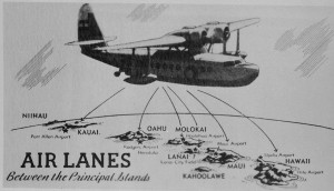 Air lanes between the principal Hawaiian islands.