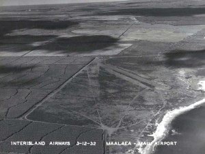 Maalaea Airport on the island of Maui showing the fields of sugar cane surrounding it. March 12, 1932.