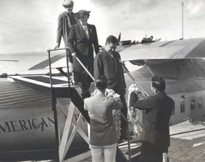 Lei greet Pan American China Clipper passengers, 1930s