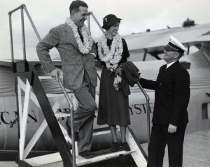 November 1930--First Trans-Pacific honeymooners arrive in Honolulu. Mr. and Mrs. George Cruse of New York are greeted by Pan American Capt R.O.H. Sullivan for a happy flight. The bride was airline hostess for three years before her marriage.