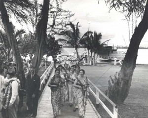 Hawaiian musicians perform at the christening of the Pan American Hawaii Clipper, May 1936.