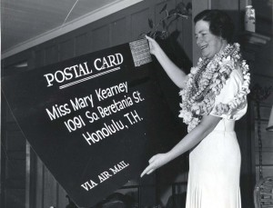 Mary Kearney of Honolulu received the largest postcard ever delivered by air mail in the U.S. 10 hours after it was mailed in California. It carried postage of $10.50 and was flown 2,400 miles over the Pacific by Pan American Hawaii Clipper.